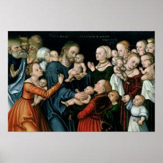 Sufra a los pequeños niños para venir a mí, 1538 póster