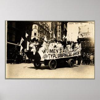 Sufragio del flotador de Nueva York 1909 del desfi Posters
