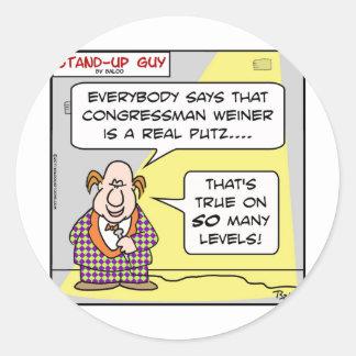 sug congressmen weiner putz levels classic round sticker