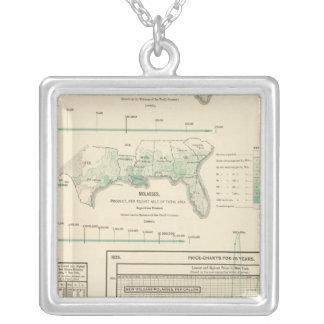 Sugar and molasses square pendant necklace