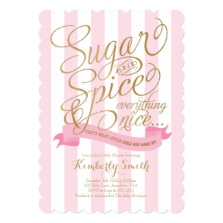 "Sugar and Spice Baby Girl Baby Shower Invitation 5"" X 7"" Invitation Card"