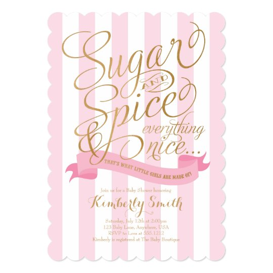 sugar and spice baby girl baby shower invitation zazzle