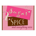 Sugar and spice baby shower postcard invites