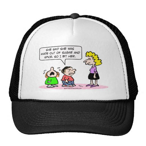 sugar and spice boy bit girl mesh hats
