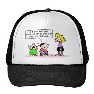 sugar and spice boy bit girl trucker hat