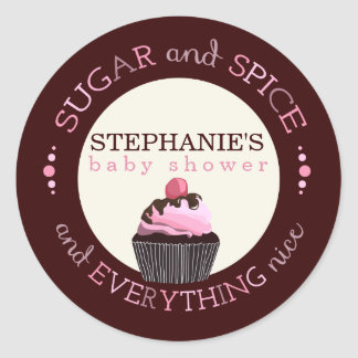Sugar and Spice Cupcake Baby Shower Favor Sticker