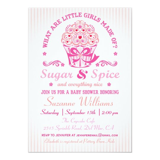 sugar and spice cupcake baby shower invitation zazzle