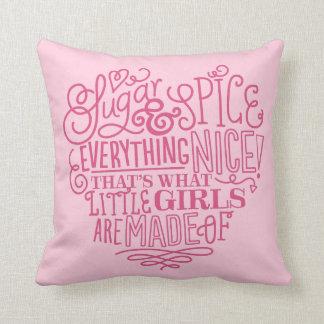 Sugar and Spice Little Girl Nursery Pillow