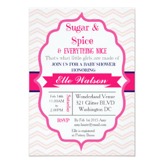 Sugar and Spice Pink Girl Baby Shower Invitations