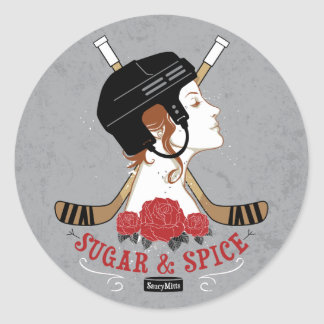 Sugar and Spice Womens Hockey Classic Round Sticker