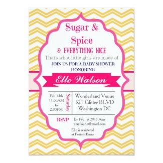 "Sugar and Spice Yellow Girl Baby Shower Invitation 5"" X 7"" Invitation Card"