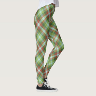 Sugar Beet Tartan ~ Soft Brush Print Leggings