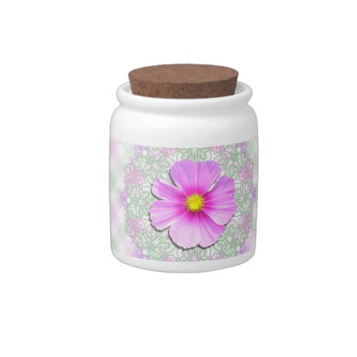 Sugar Bowl/Candy Jar - Bi-Color Cosmos on Lace