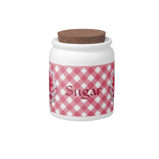Sugar Bowl/Candy Jar - BiColor Zinnia on Lattice Candy Dish