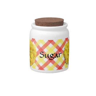 Sugar Bowl/Candy Jar - Candy Stripe Zinnia Lattice