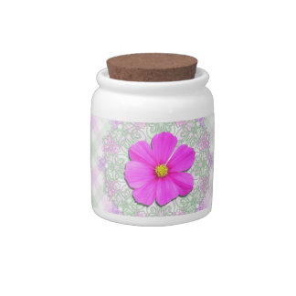 Sugar Bowl/Candy Jar - Dark Pink Cosmos on Lace Candy Jar