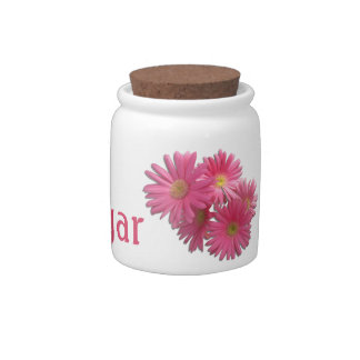 Sugar Bowl/Candy Jar - Dark Pink Gerbera Daisies Candy Jars