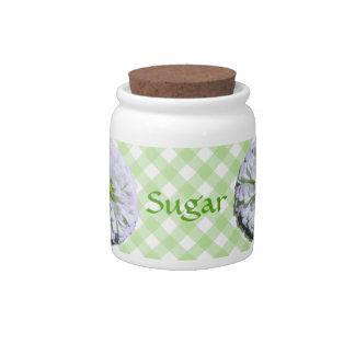 Sugar Bowl/Candy Jar - Lemony Wht Zinnia Lattice