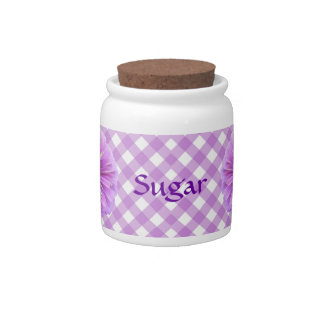 Sugar Bowl/Candy Jar - Lilac Zinnia on Lattice Candy Dishes