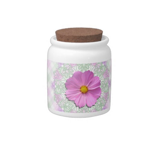 Sugar Bowl/Candy Jar - Med.Pink Cosmos on Lace