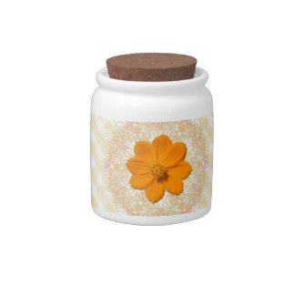 Sugar Bowl/Candy Jar - Orange Cosmos Lace Lattice Candy Jar