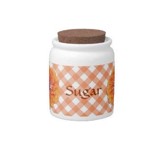 Sugar Bowl/Candy Jar - Orange Zinnia on Lattice