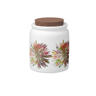 Sugar Bowl/Candy Jar - Painted White Spider Mum Candy Dishes