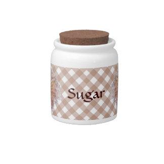 Sugar Bowl Candy Jar - Palest Pink Zinnia Lattice