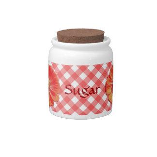 Sugar Bowl/Candy Jar - Red Zinnia on Lattice