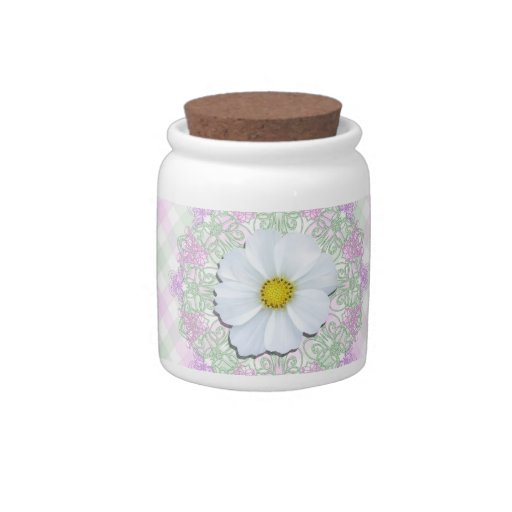 Sugar Bowl/Candy Jar - White Cosmos on Lace & Latt