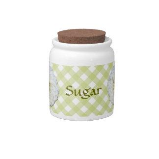 Sugar Bowl/Candy Jar - White Zinnia on Lattice