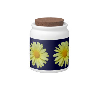 Sugar Bowl/Candy Jar - Yellow Daisy on Midnight Candy Dish