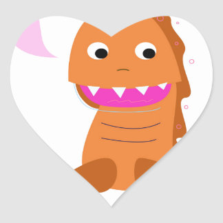 Sugar brown Dragon. Kids dragon Heart Sticker
