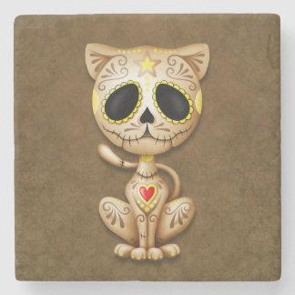 sugar cat brBrown Zombie Sugar Kitten Stone Coaster