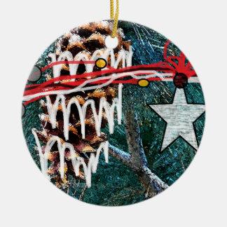 Sugar Coated Pine n' Star Ceramic Ornament