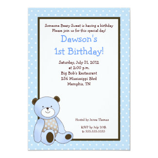 Sugar Cookie Blue Bear 5x7 Birthday Invitation