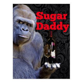 Sugar Daddy Black Damask Gorilla Postcard