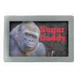 Sugar Daddy Black Damask Gorilla Rectangular Belt Buckle