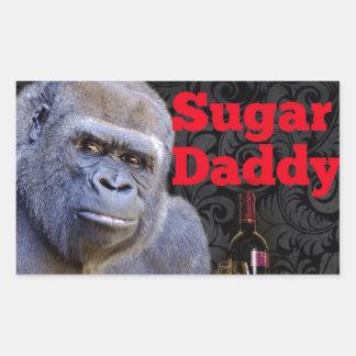 Sugar Daddy Black Damask Gorilla Rectangular Sticker