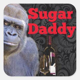 Sugar Daddy Black Damask Gorilla Square Sticker