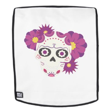 Halloween Themed Sugar Flower Skulls  Happy Halloween Funny Backpack