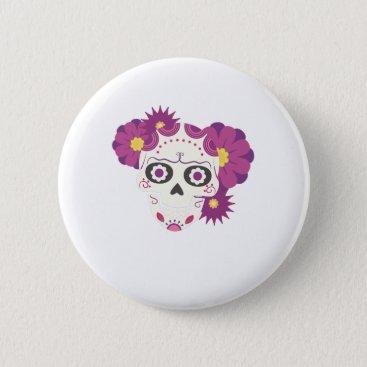 Halloween Themed Sugar Flower Skulls  Happy Halloween Funny Button