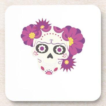 Halloween Themed Sugar Flower Skulls  Happy Halloween Funny Coaster
