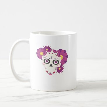 Halloween Themed Sugar Flower Skulls  Happy Halloween Funny Coffee Mug