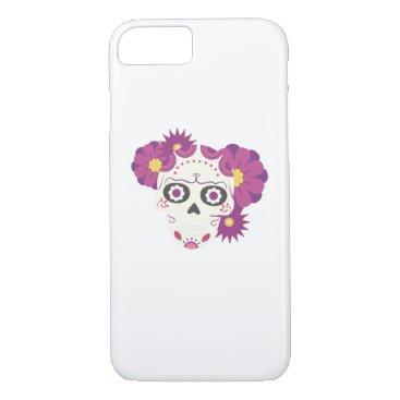 Halloween Themed Sugar Flower Skulls  Happy Halloween Funny iPhone 8/7 Case