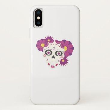 Halloween Themed Sugar Flower Skulls  Happy Halloween Funny iPhone X Case