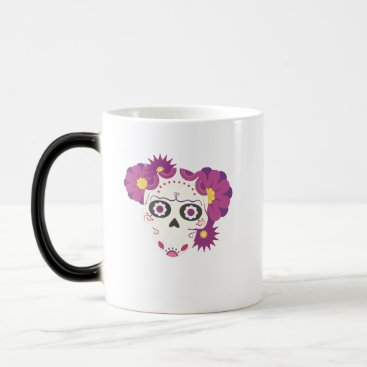 Halloween Themed Sugar Flower Skulls  Happy Halloween Funny Magic Mug