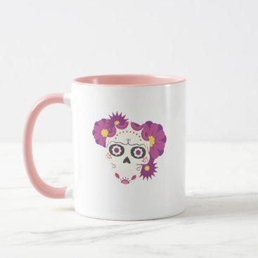 Halloween Themed Sugar Flower Skulls  Happy Halloween Funny Mug