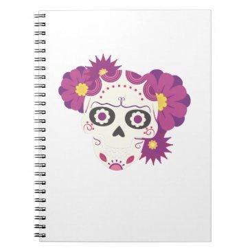 Halloween Themed Sugar Flower Skulls  Happy Halloween Funny Notebook