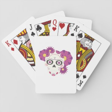 Halloween Themed Sugar Flower Skulls  Happy Halloween Funny Playing Cards